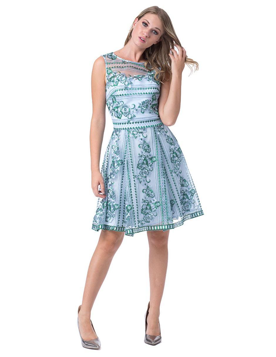 Vestido Bordado Ivonne Couture Azul