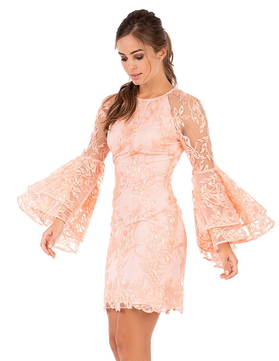 Vestido De Encaje Ivonne Couture Durazno