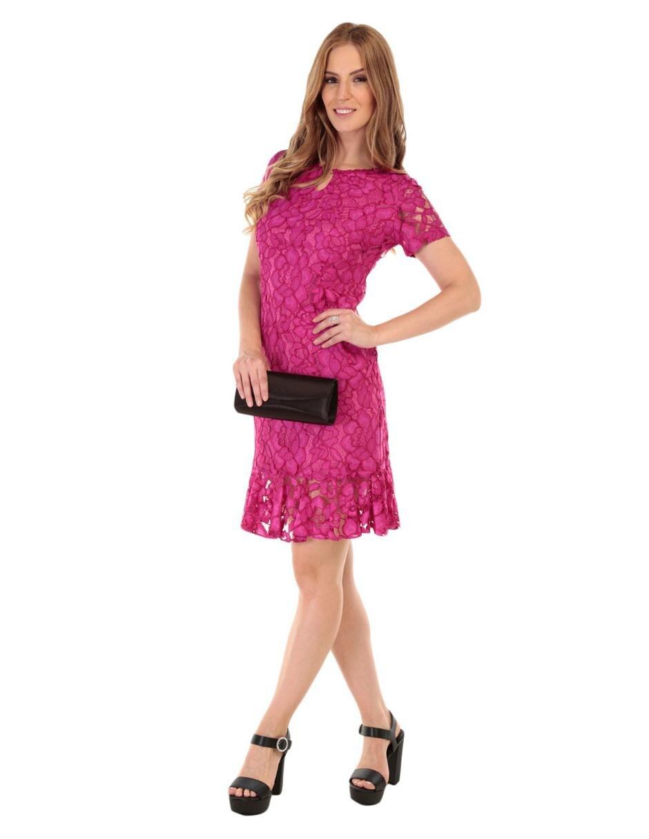 Vestido bordado Karen Olivier rosa 15cc3c6ff51