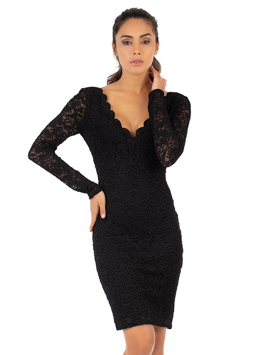 ffafc7e08bb74 Vestido de encaje Ivonne negro