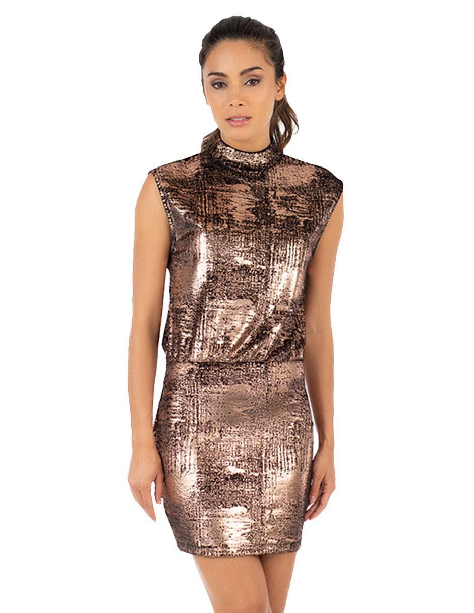 a5588db65 Vestido texturizado Ivonne cobre