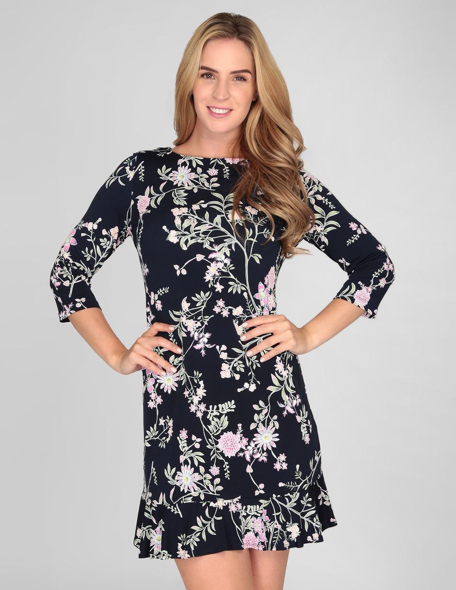 Vestido Sandra Darren Azul Marino Con Diseño Floral Casual