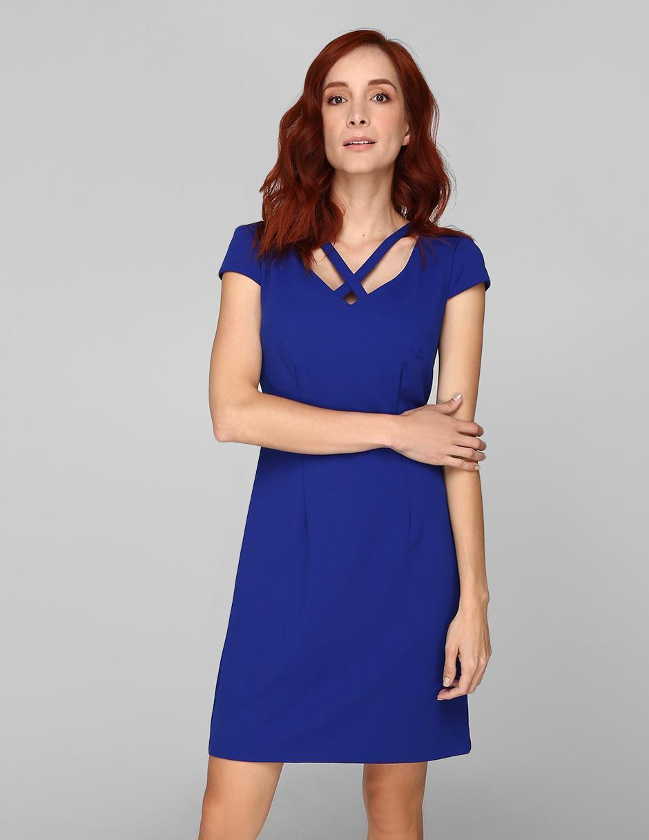 Vestido Casual Connected Apparel Azul Rey