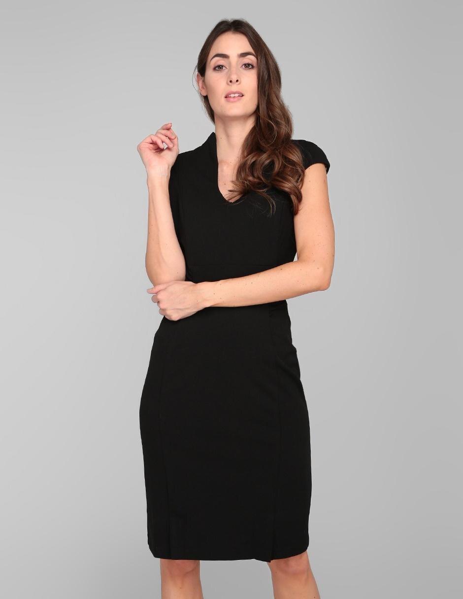 Vestido Formal Connected Apparel Negro Cuello V