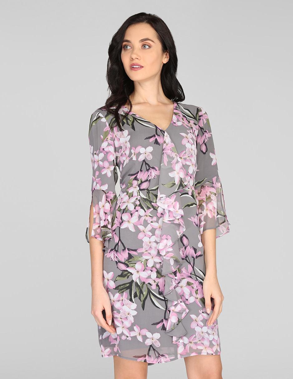 Vestido Casual Connected Apparel Gris Con Diseño Floral Olanes