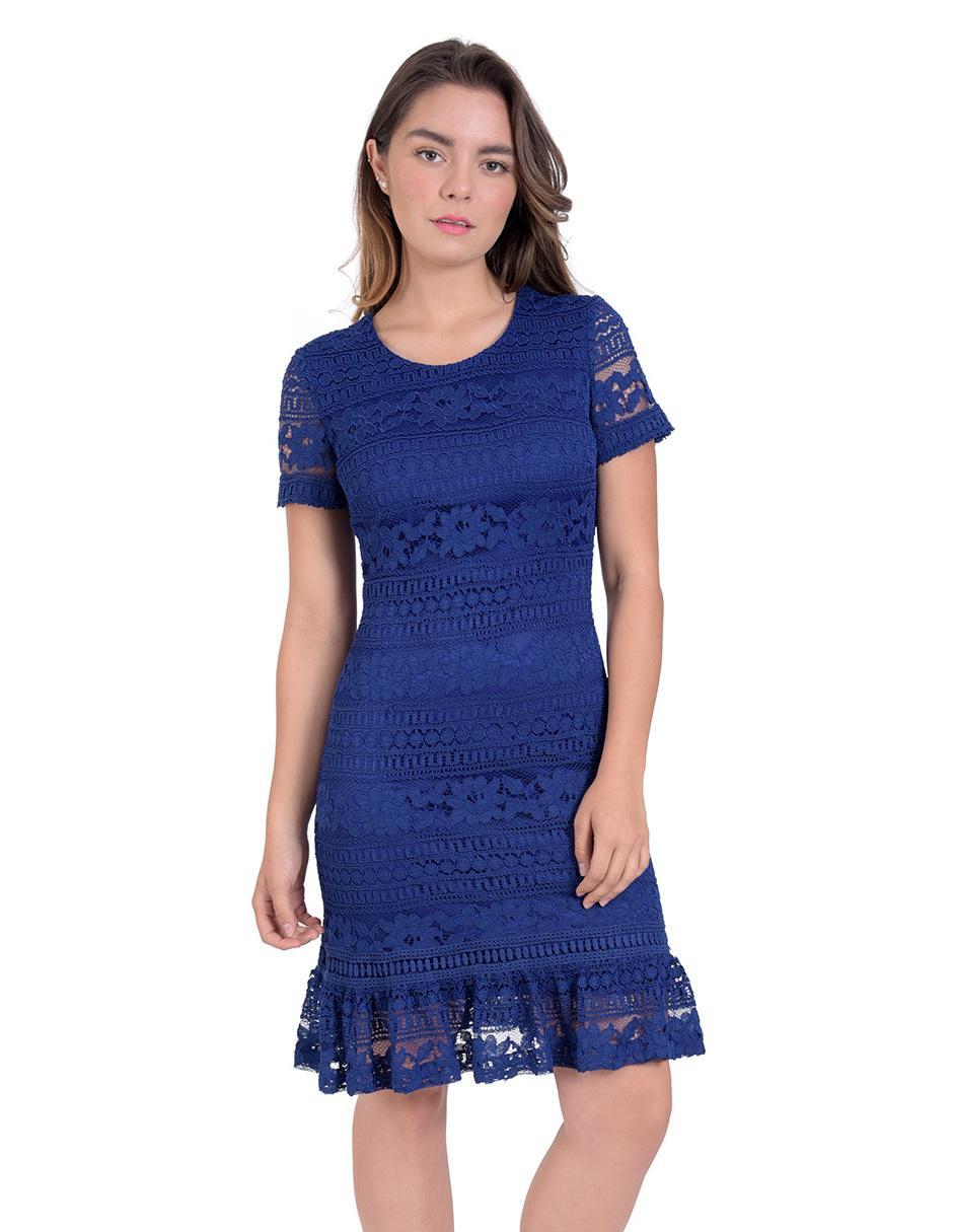 Vestido Toscano Azul Marino De Encaje Casual