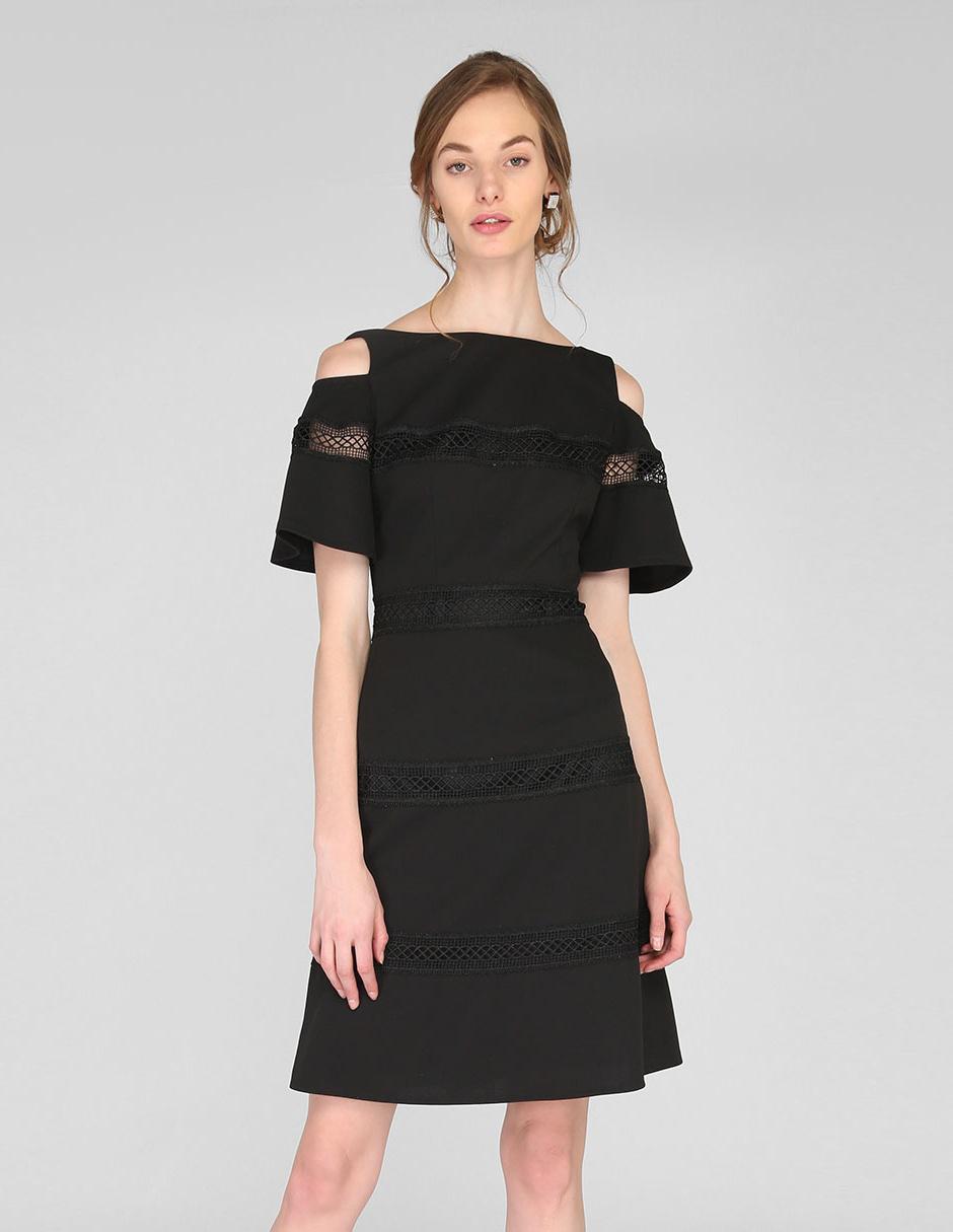 Vestido Casual Karen Olivier Negro Cuello Ojal