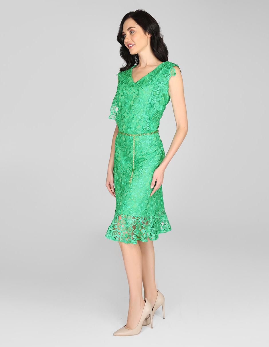 nueva especiales amplia selección de diseños bastante agradable Vestido casual Karen Olivier verde bordado