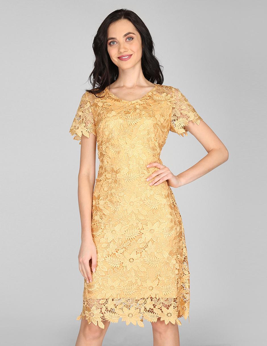 Vestido Casual Karen Olivier Color Oro Con Diseño Floral